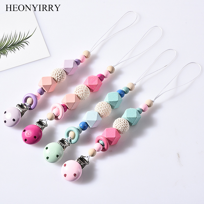 DIY Colorfull Wooden Baby Pacifier Clips Funny Pacifier Chain For Infant Feeding Toddle Teething Chew Toy Dummy Clips BPA Free