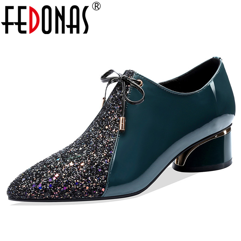 FEDONAS Glitters Pumps Women Spring Autumn Four Season Shallow Pumps Party Basic Shoes Woman  Pointed Toe Side Zipper Pumps