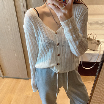 knitted sweaters cheap Spring cardigans new women Korean version  v-neck cardigan coat knit casual sweater Single Breasted Solid цена 2017
