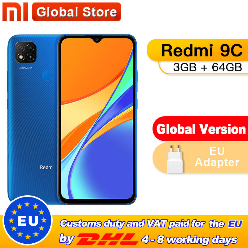 In Stock Global Version Xiaomi Redmi 9C Mobile Phone 9C 3GB RAM 64GB ROM MediaTek Helio G35 6.53