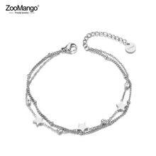 Zoomango na moda dupla camada cz ctystal estrela charme pulseira para mulheres de aço inoxidável boemia chain pulseiras jóias zb19080