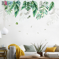 Nordic Style Green Leaf Wall Stickers Large Wallpapers Fresh Plants Home Decor for TV Sofa Bedrooms Art PVC Vinyl Wall Decals