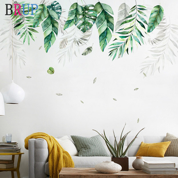 Nordic Style Green Leaf Wall Stickers Large Wallpapers Fresh Plants Home Decor for TV Sofa Bedrooms Art PVC Vinyl Wall Decals 1
