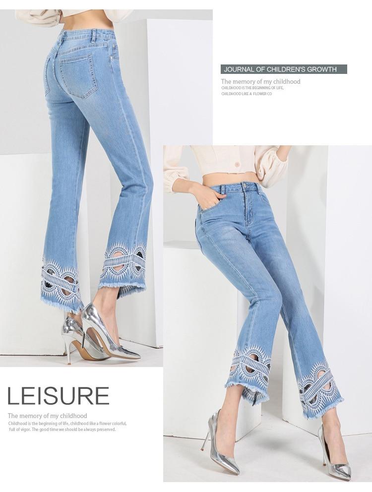 KSTUN FERZIGE high waist women jeans stretch light blue hollow out embroidery slim fit bell bottom pants fashion women's jeans size 36 12