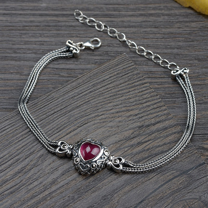 FNJ Heart Stone Bracelet 925 Silver 17.5cm +6cm Fox Tail Chain Original Pure S925 Silver Bracelets For Women Jewelry Fine