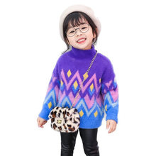 Korean Style Turtleneck Sweater for Girl Kids Knitted Cashmere Pullover Child Bright Color Knitwear High Quality