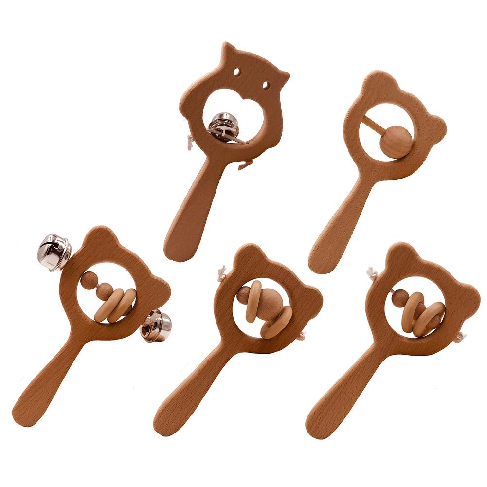 Baby Teether Toy Bear Shape Wooden Hand Grip Teether Rattle Bell Baby Chew Beads Teething Toy