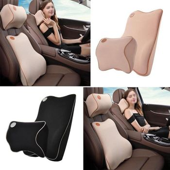 Durable Car Headrest Neck Support Pillow Lumbar Backrest Pillow Set Space Memory Car Cotton Cushion 2020