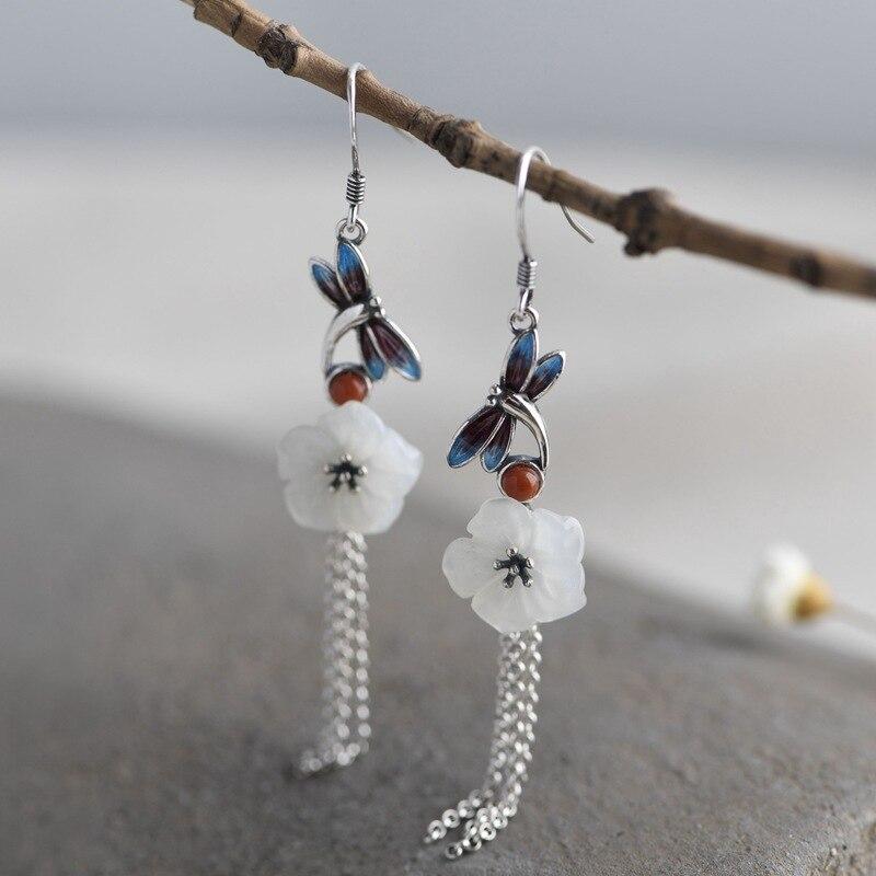 FNJ fleur Jade libellule boucles d'oreilles 925 argent Original pur S925 en argent Sterling goutte boucle d'oreille pour les femmes bijoux gland chaîne