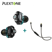Plextone DX6 Detach Sport Earphone Combinable Bluetooth 5.0 3.5mm HIFI Stereo Bass headphone TYPE C Wired Earbuds MMCX Cable