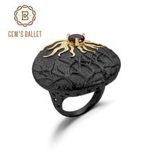 Женское балетное кольцо GEMS, кольцо с натуральным красным гранатом и драгоценным камнем из стерлингового серебра 925 пробы, ручная работа, солнцезащитные кольца, ювелирные украшения