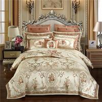 Luxury Wedding satin jacquard bedding set queen/king size bed set gold 4/6/9pcs duvet cover sets thick cotton bedspread set