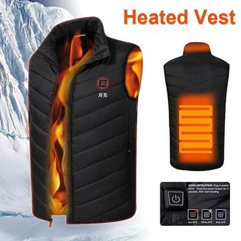 Электрический жилет с подогревом, куртка с подогревом, одежда с USB, Черный пуховик, хлопок, горячий компресс, физиотерапия, грелка, теплое пал...