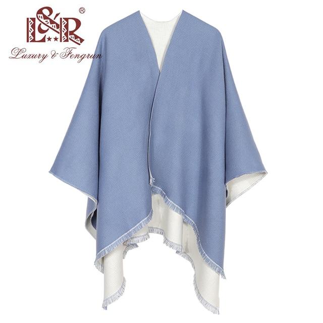 New Fashion Double Sides Winter Poncho Cashmere Women Poncho Scarf Foulard Femme Wool Shawl Poncho And Caps Tassle 1