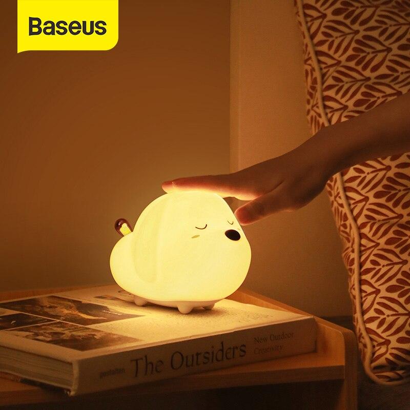 Baseus śliczne LED lampka nocna miękki silikonowy czujnik dotykowy lampka nocna dla dzieci dzieci sypialnia akumulator sterowana dotykiem lampka nocna