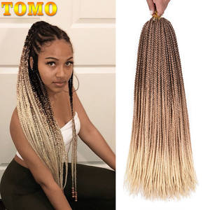 TOMO Hair-Box Braiding-Hair Crochet-Hair Rainbow Pink Synthetic Long Ombre 22strands