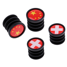4 Piece National Flags Pattern Bike Handlebar End Bar Pair Plugs Caps for Mountain Cycling