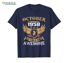 October 1958 60th Years Of Being Awesome Birthday Gift Shirt Latest Fun T-shirt Top Casual Wear