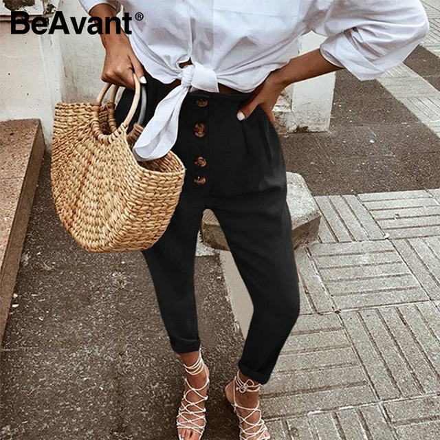 BeAvant High Waist Casual Pants Women Chic Streetwear 2020 Skinny Pencil Pants Trousers Female Spring Summer Long Pants Button