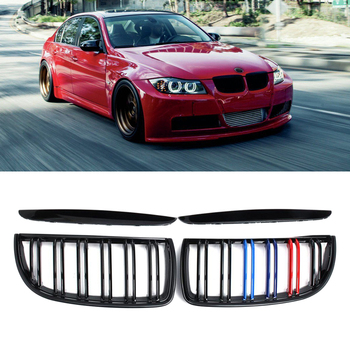 1 Pair Gloss Matt Black M Color 2 Line Front Kidney Grille Grill Double Slat For BMW E90 E91 3 Series 320i 325i 328i 2005-2008 pair front kidney sport grille racing grill double slat for bmw f32 f33 f36 f82 420i 428i 435i m4 2014 2018 gloss black m color