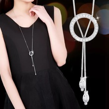 BYSPT Блестящий Кристалл круг Серебряный цвет женский кулон ожерелье s ювелирные изделия кулон длинное ожерелье Женская цепочка модное ювелирное изделие