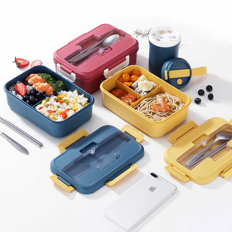 Healthy Portable Lunch Box With Spoon Multi Layer Microwavable Bento Box Cutlery