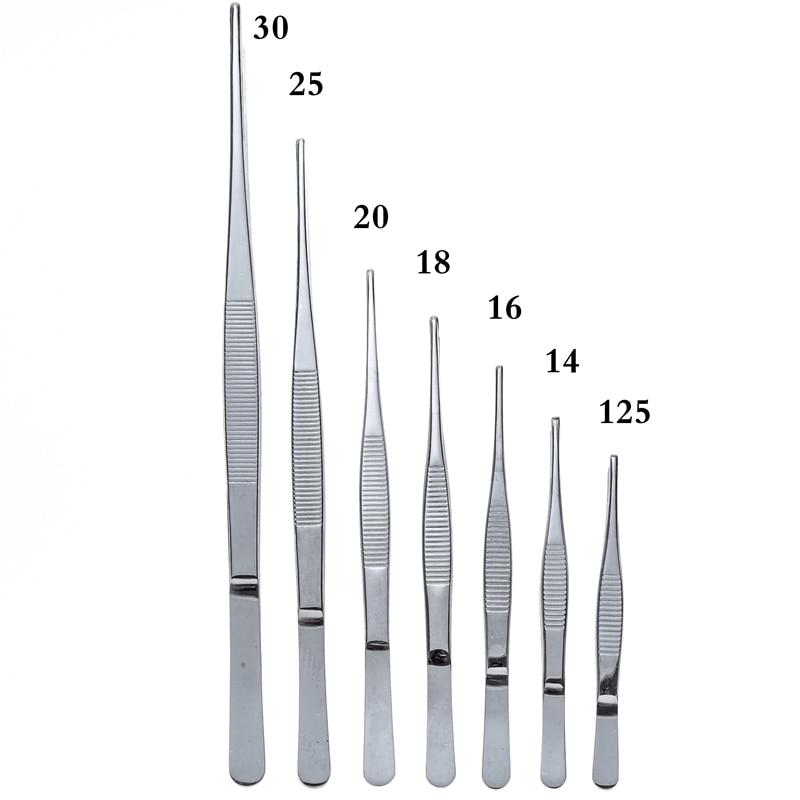 Di alta Qualità In Acciaio Inox 304 Anti-iodio Precisione Lunga Etero Pinze Pinzette 12.5 centimetri-30 centimetri Testa Dritta gomito Addensare