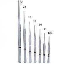 Pinzas medicinales de acero inoxidable 430 antiyodo, pinzas medicinales largas y rectas de 12,5 cm-30cm, coderas de cabeza recta gruesa