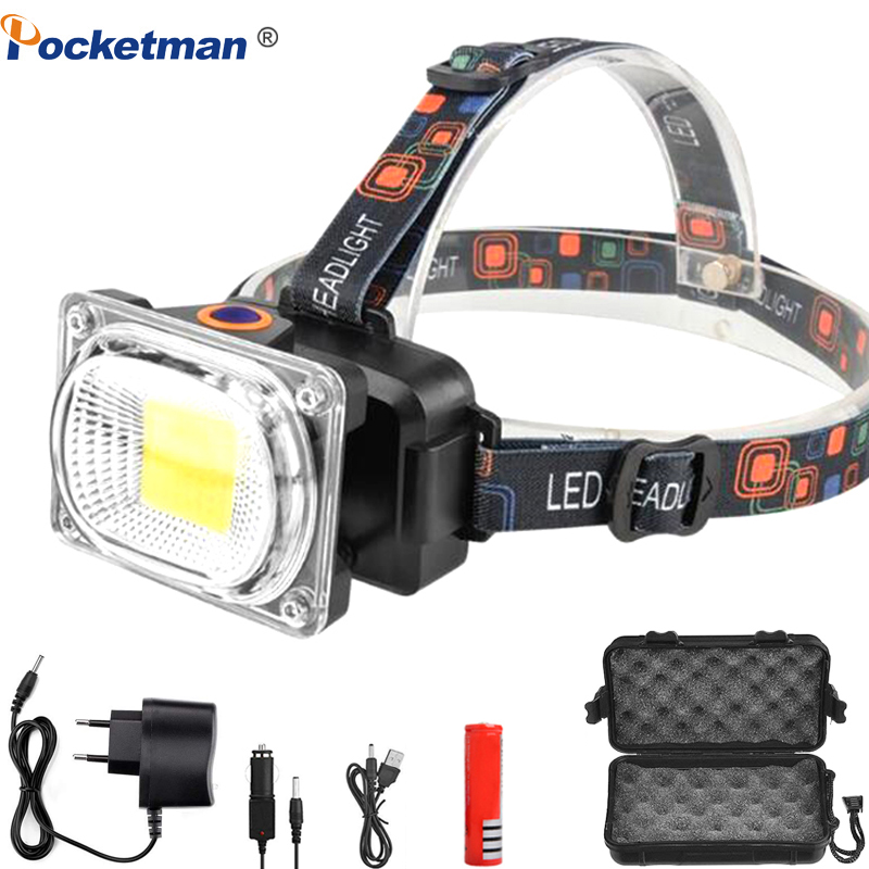 COB LED Headlamp Led 18650 USB Rechargeable Headlight Camping Fishing Head Lamp Searchlight Lantern Flashlight Head Torch Led