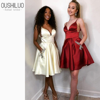Lovely Homecoming Dress For Girls Crystal White Homecoming Dresses Red V Neck Open Back Party Prom Dresses Short With Pockets