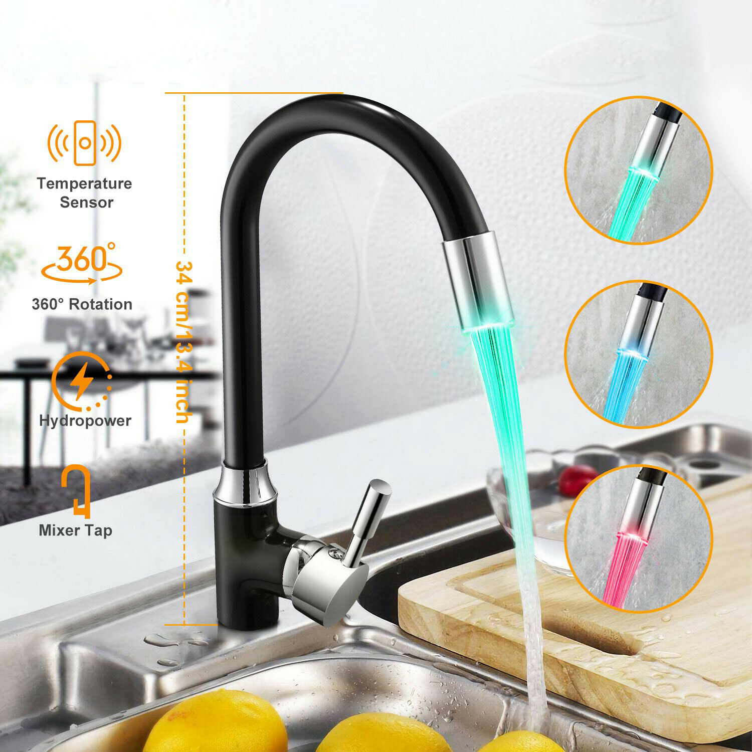 Led Kitchen Faucet With Temperature Control Light Hot And Cold Water Tap Handle Hole Rotatable Sink Mixer Tap Kitchen Faucets Aliexpress