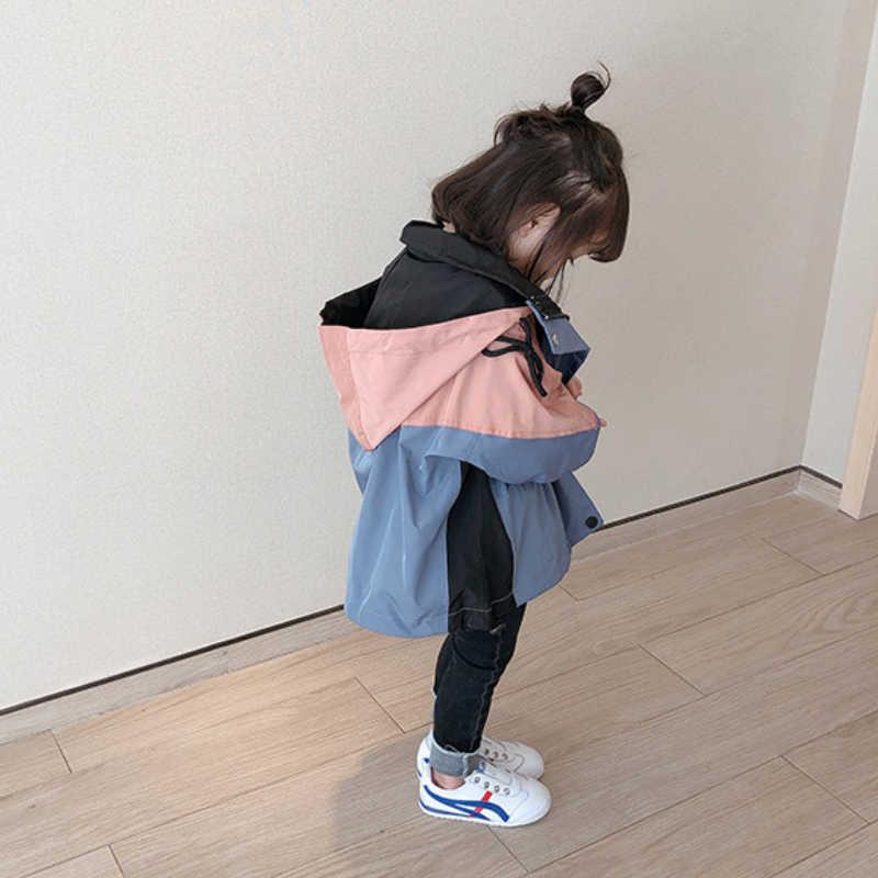 키즈 소녀 윈드 브레이커 2020 봄 후드 패치 워크 방수 아기 자 켓 여자 어린이 코트 어린이 겉옷 2-9Y