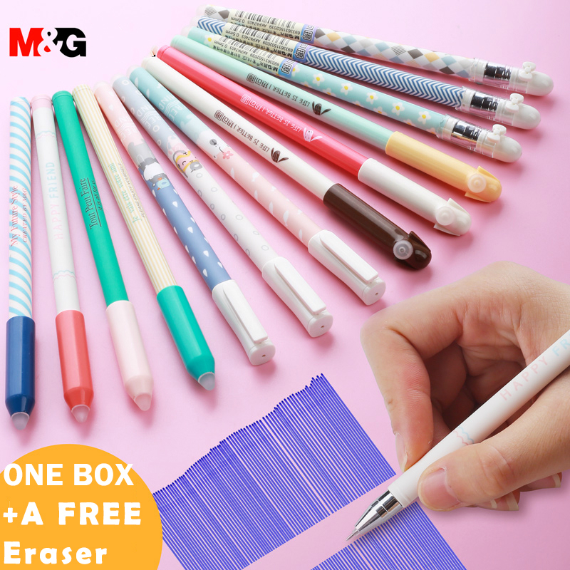 M&G Erasable <font><b>Gel</b></font> <font><b>Pen</b></font> <font><b>0.38</b></font>/0.5/0.7mm Magic Colors <font><b>Refillable</b></font> <font><b>Pen</b></font> Crystal Blue / Black / Blue Office & School Stationery Supply image