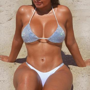 Women Solid Diamond Bikini Suit Summer Hot Sale Split Swimsuit Swimwear Glittering Set Sexy Beach Woman