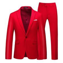 남자 정장 2020 새로운 간단한 블레이저 솔리드 컬러 2 pcs 클래식 비즈니스 캐주얼 슬림 남자 정장 여러 가지 빛깔의 웨딩 신랑 tuxudo