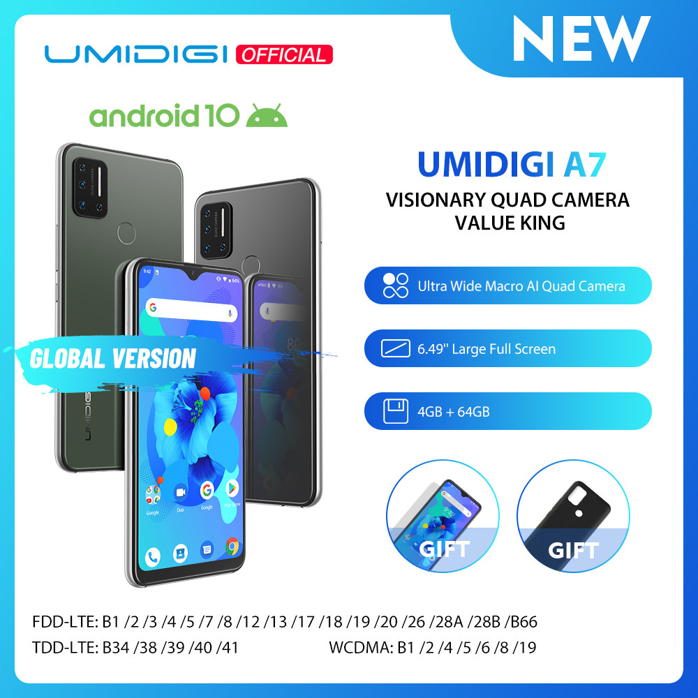 UMIDIGI A7 Android 10 6.49'' Large Full Screen 4GB 64GB Quad Camera Octa-Core Processor 4G Global Version Smartphone Pre-sale
