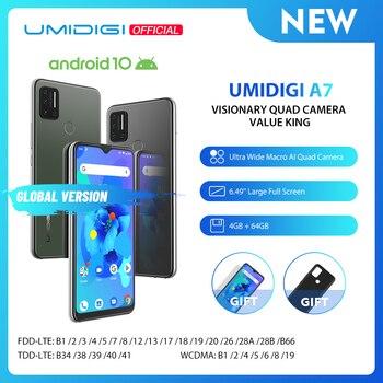 Перейти на Алиэкспресс и купить UMIDIGI A7 Android 10 6,49 ''большой полноэкранный 4 Гб 64 Гб четырехъядерный процессор 4G глобальная версия смартфона предпродажа