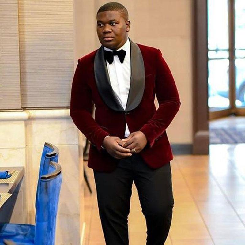 Burgundy Velvet Smoking Jacket Prom Costume Homme Man Blazer Suits Men 2019 Wedding Suits For Men Outfit Groom Tuxedo 2Piece