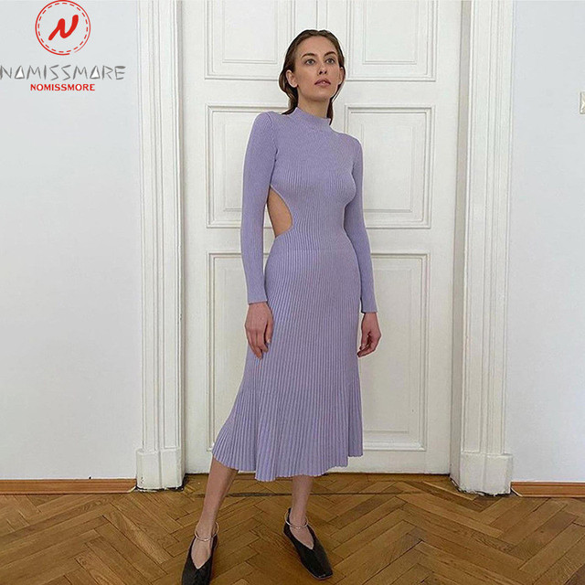Sexy Women Solid Color Pencil Dress Hollow Out Bandage Design High Collar Long Sleeve Mid Waist Backless Slim Hips Long Dress 3