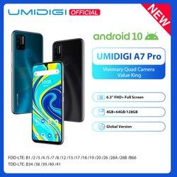 UMIDIGI A7 Pro Quad Camera Andriod 10 OS 6,3 FHD  полный экран 64 Гб/128 ГБ ROM LPDDR4X Восьмиядерный процессор глобальная Версия Телефона