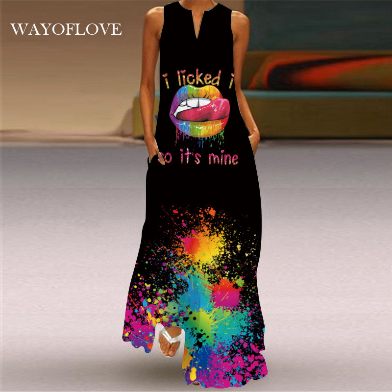 WAYOFLOVE вызывающие губы Печать Платье черного цвета 2021 повседневная одежда размера плюс длинные платья летние женские пляжные макси без Рука...