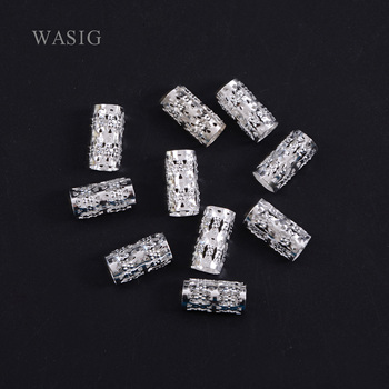 New 34ps/pack Silver Plated Hair Braid Dread Dreadlock Beads Adjustable Braids Cuff Clip 8MM Hole Micro RingBead DIY Hairstyling - sale item Hair Tools & Accessories