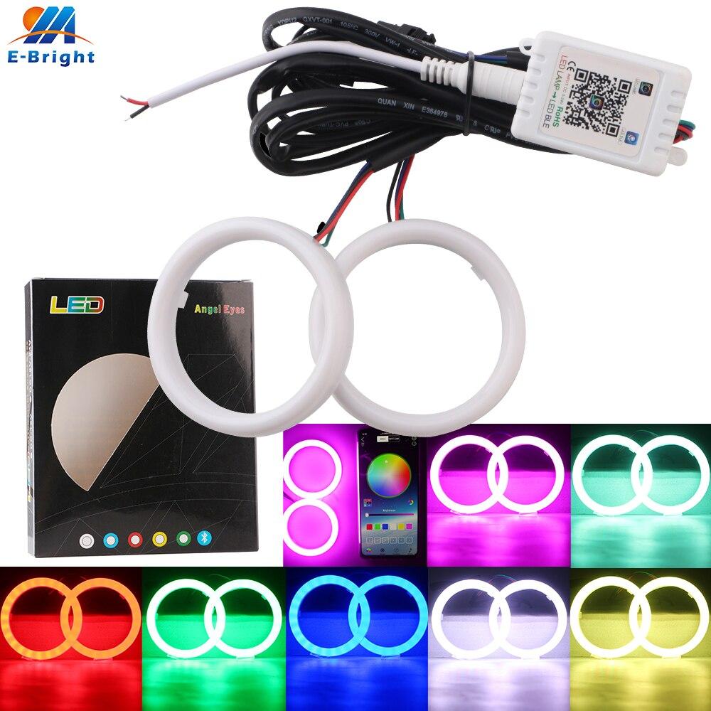 60-70-80-90-95-100-110-120mm RGB Angel Eyes Bluetooth APP Control Halo Rings COB Cotton Led Car Auto Signal Driving Headlight