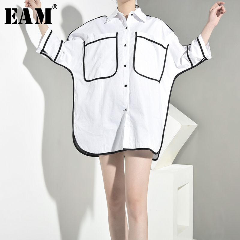 [EAM] Women Big Pocket Split Big Size Blouse New Lapel Three-quarter Sleeve Loose Fit Shirt Fashion Spring Autumn 2020 JT6090