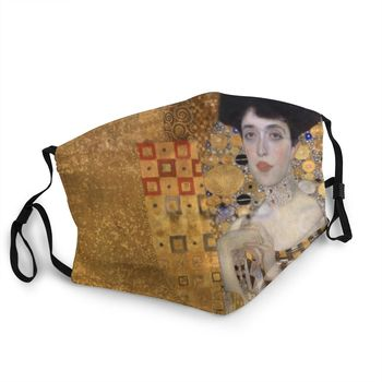 Gustav Klimt Portrait Of Adele Bloch Bayer Reusable Mouth Face Mask Anti Haze Dustproof Protection Cover Respirator Mouth Muffle image