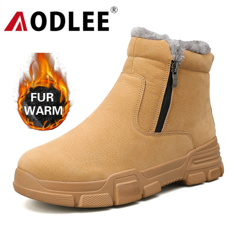 AODLEE Casual Shoes Men Snow Boots Warm Winter Outdoor Waterproof Light Winter Warm Short Plush Boots For Men Sneakers Footwear