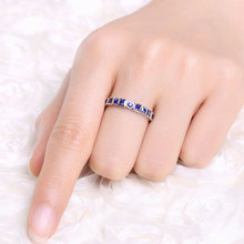 S925 Sterling Silver Pure Sapphire Jewelry Ring for Women Anillos De Bizuteria Silver 925 Jewelry Blue Sapphire Gemstone Rings chic floral faux sapphire ring for women