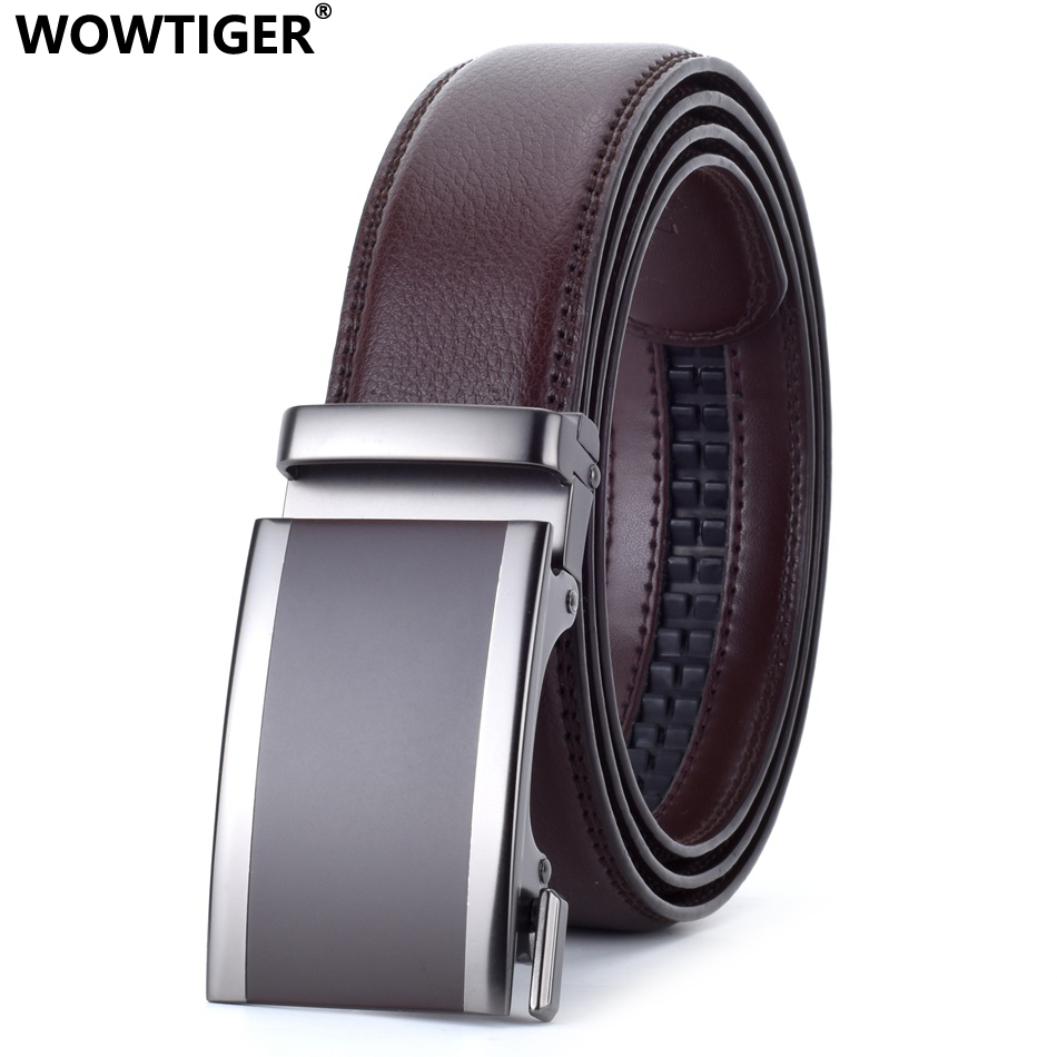 WOWTIGER  White Brown Red Black Red Men`s Automatic Buckle Leather Luxury Man Cinturones Hombre Coffee Men Belt Belts For Men