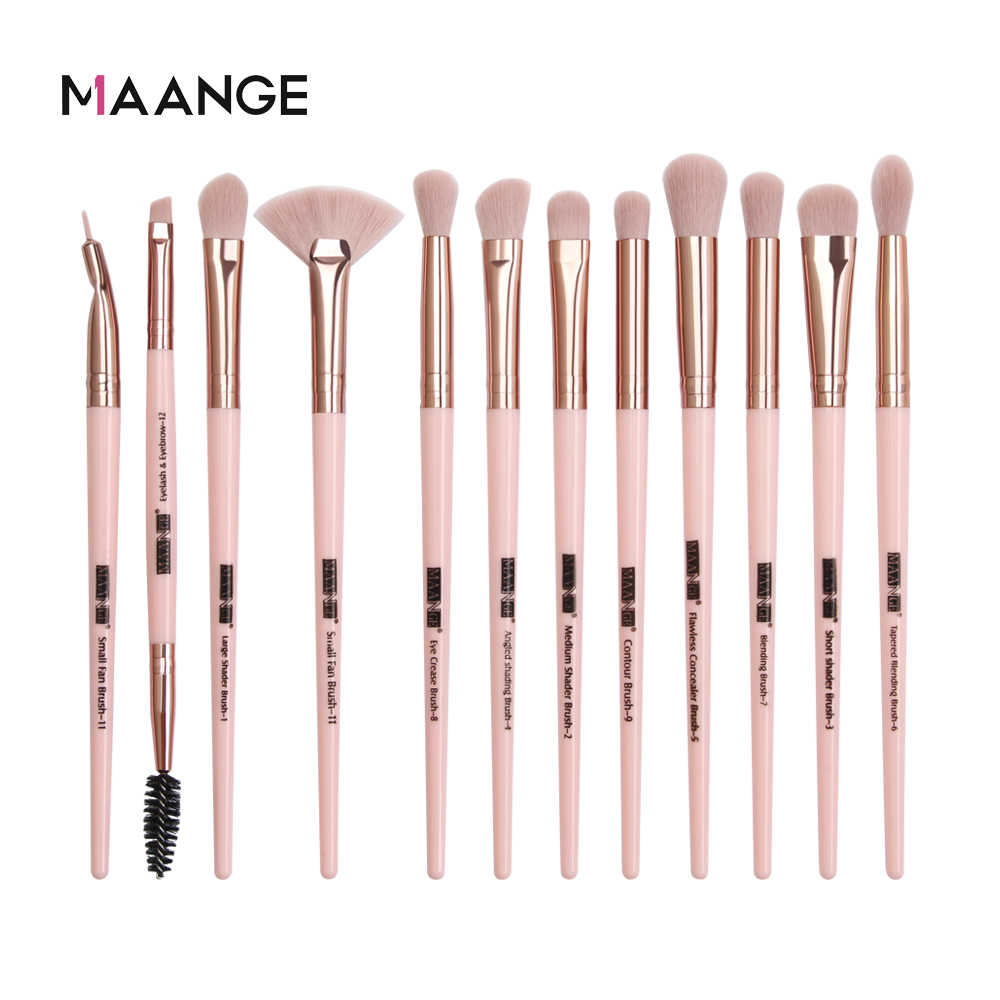 Maange Pro 3/5/12 Buah/Set Kuas Makeup Eye Shadow Blending Eyeliner Bulu Mata Alis Kuas untuk Make Up baru