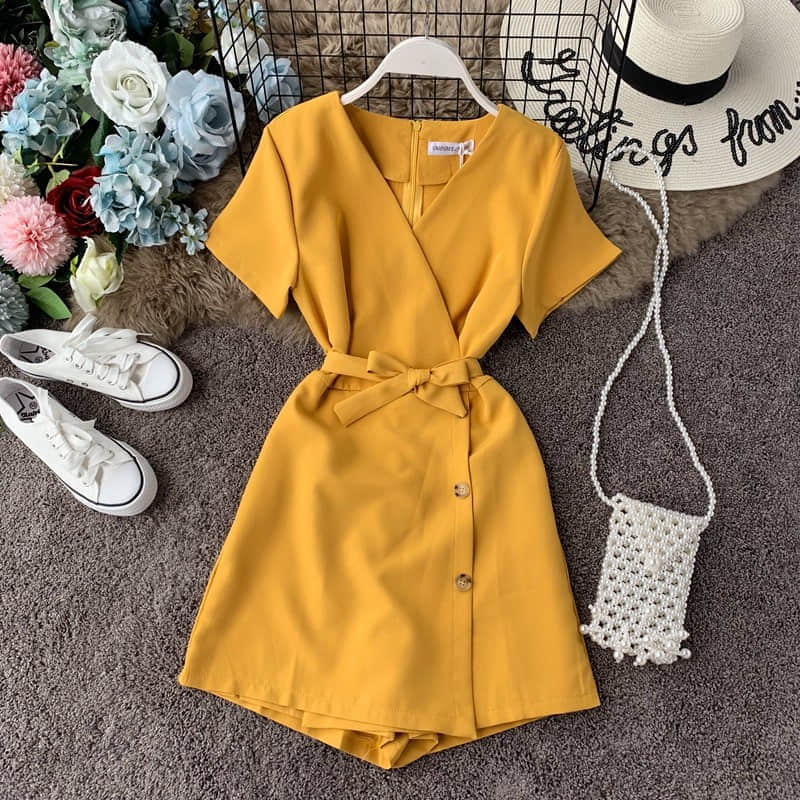 H1df69c9ab3c9481cae3fcf10e294416eN - Candy Color Elegant Jumpsuit Women Summer Latest Style Double Ruffles Slash Neck Rompers Womens Jumpsuit Short Playsuit